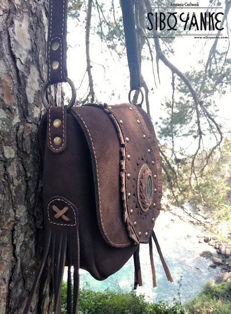 Leather Boho Bag Hip Bag Boehmian Labradorite