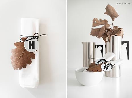 Ich dekoriere herbstlich mit getrockneten Herbstblätter - DIY Serviettenanhänger