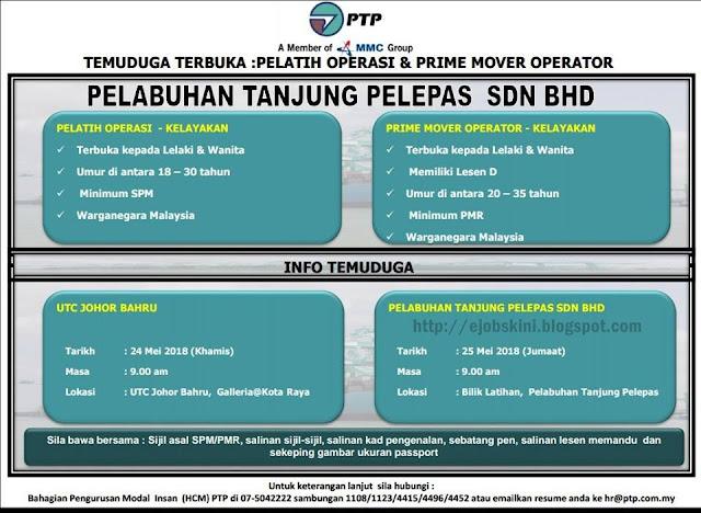 Temuduga Terbuka Pelabuhan Tanjung Pelepas (PTP) Pada Mei 2018