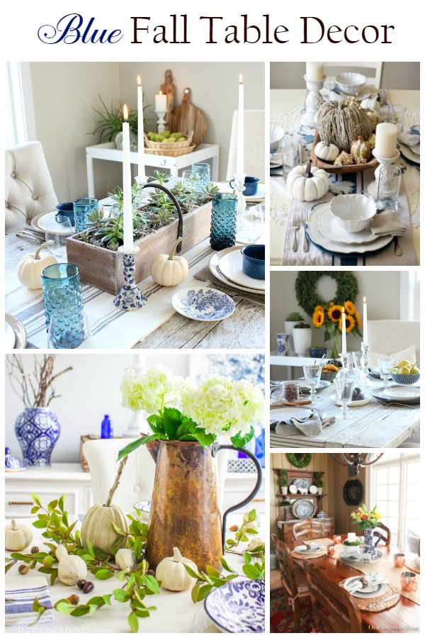 blue fall tablescape ideas