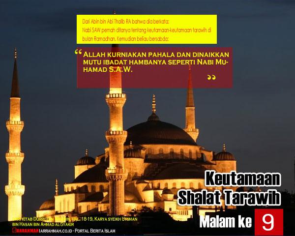 Keutamaan Sholat Tarawih Malam Kesembilan Ramadhan