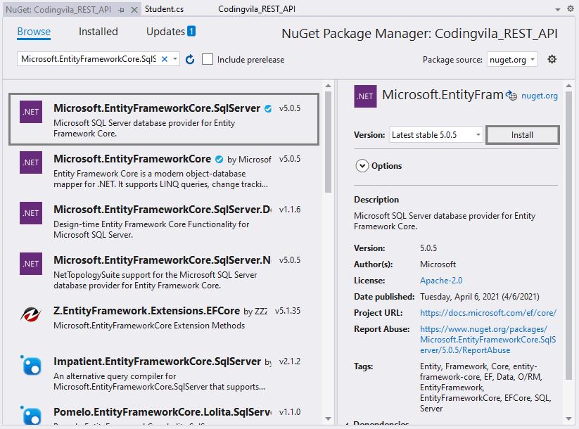 Microsoft EntityFramework Core SQL Server
