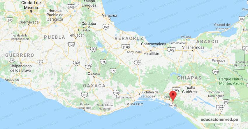 Temblor en México de Magnitud 4.1 (Hoy Martes 27 Agosto 2019) Sismo - Epicentro - Tonalá - Chiapas - CHIS. - SSN - www.ssn.unam.mx