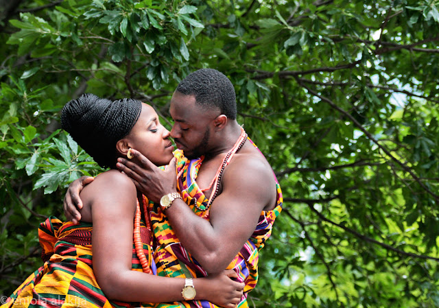 Couples wearing Kente on their wedding