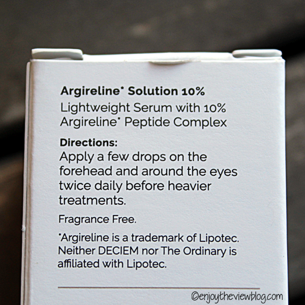 Directions for using the Ordinary's 10% Argireline™ solution