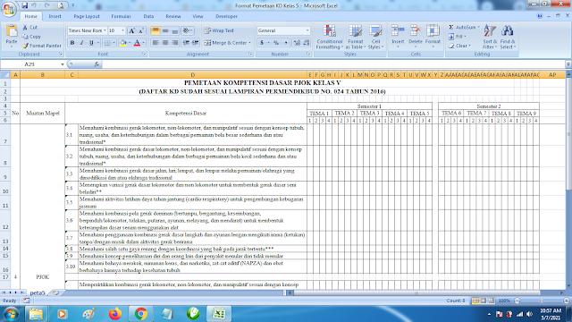 Contoh Format Terbaru Pemetaan KD Kelas 5 Mapel PJOK SD K13