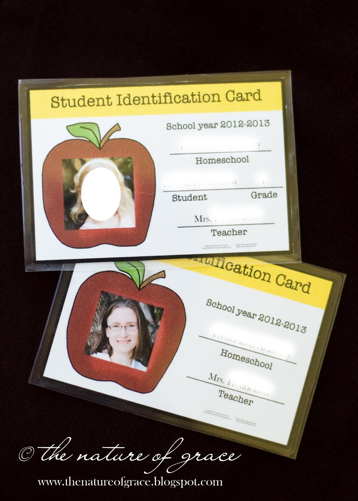 The nature of grace student id cards have you made or for Homeschool id template