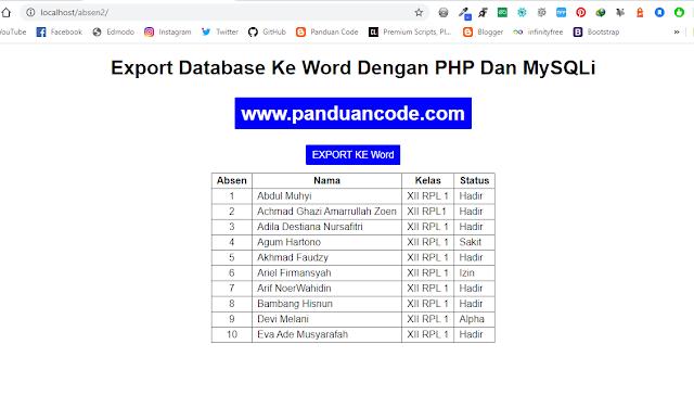 Cara Export Database Ke Word Dengan PHP Dan MySQLi
