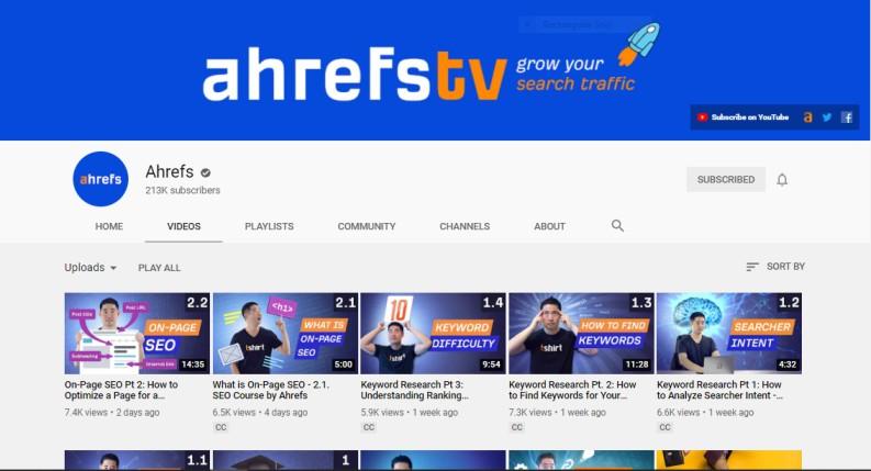 Ahrefs yyoutube channel