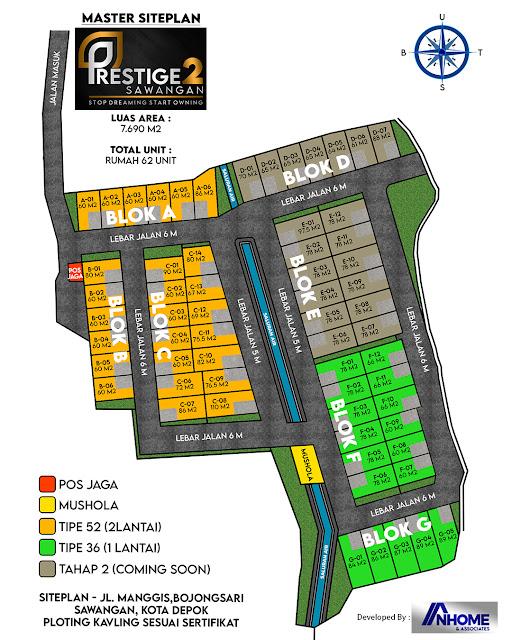 Siteplan Perumahan Prestige2 Sawangan