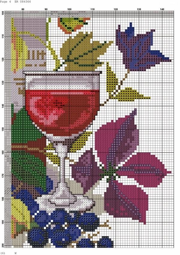 """Вышивка крестом панно """"Вино и виноград"""". Схемы"""