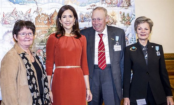 Crown Princess Mary wore Signe Bøgelund-Jensen Present Neck layer dress, Prada nude pointed toe pumps, Naledi Copenhagen Allana clutch