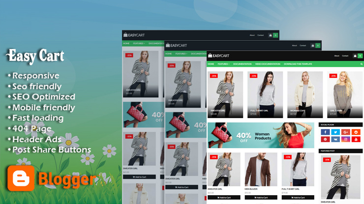 Easy Cart Responsive Blogger Template