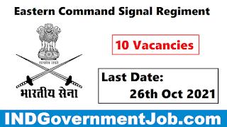 Eastern Command Signal Regiment Recruitment