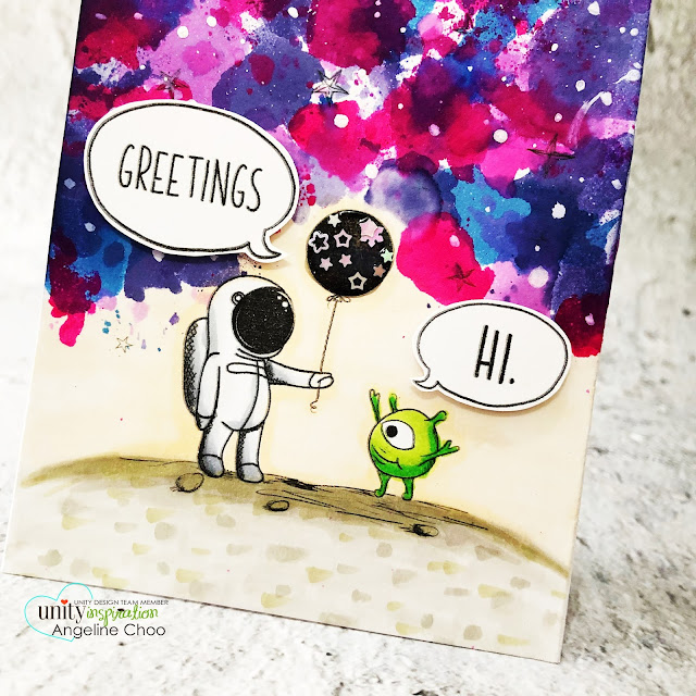 ScrappyScrappy: Happy 11th Birthday Unity Stamp! - Other Worldly Greetings #scrappyscrappy #unitystampco #card #cardmaking #papercraft #handmadecard #unitystampbirthday #copicmarkers #otherworldygreetings #janedavenport #mermaidmarkers #alien #martian #galaxysky #galaxybackground #janedavenport #mermaidmarkers #outofthisworld #outerspace #astronaut #alien #greetings
