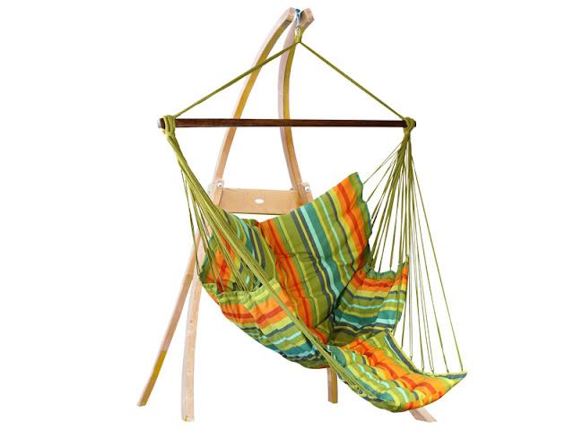 Zestaw hamakowy: fotel pikowany Comfy ze stojakiem drewnianym Atlas, fotel Comfy+stojak Atlas