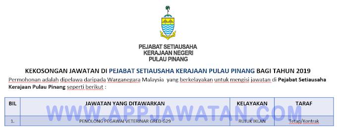 Jawatan Kosong Terkini di Pejabat Setiausaha Kerajaan Pulau Pinang.
