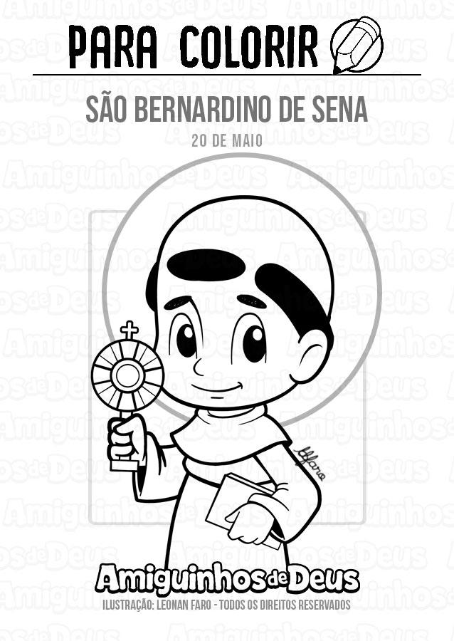 São Bernardino de Sena desenho para colorir