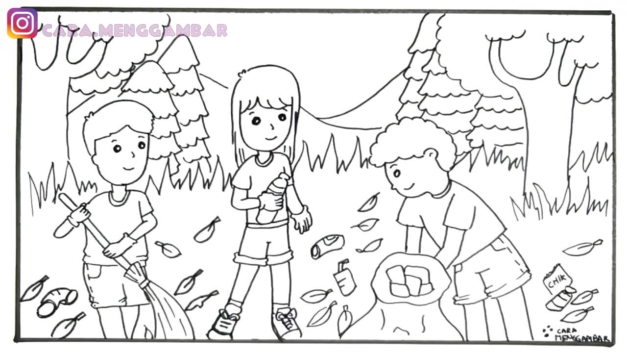 Gambar Gotong Royong Di Sekolah Kartun Hitam Putih Orion
