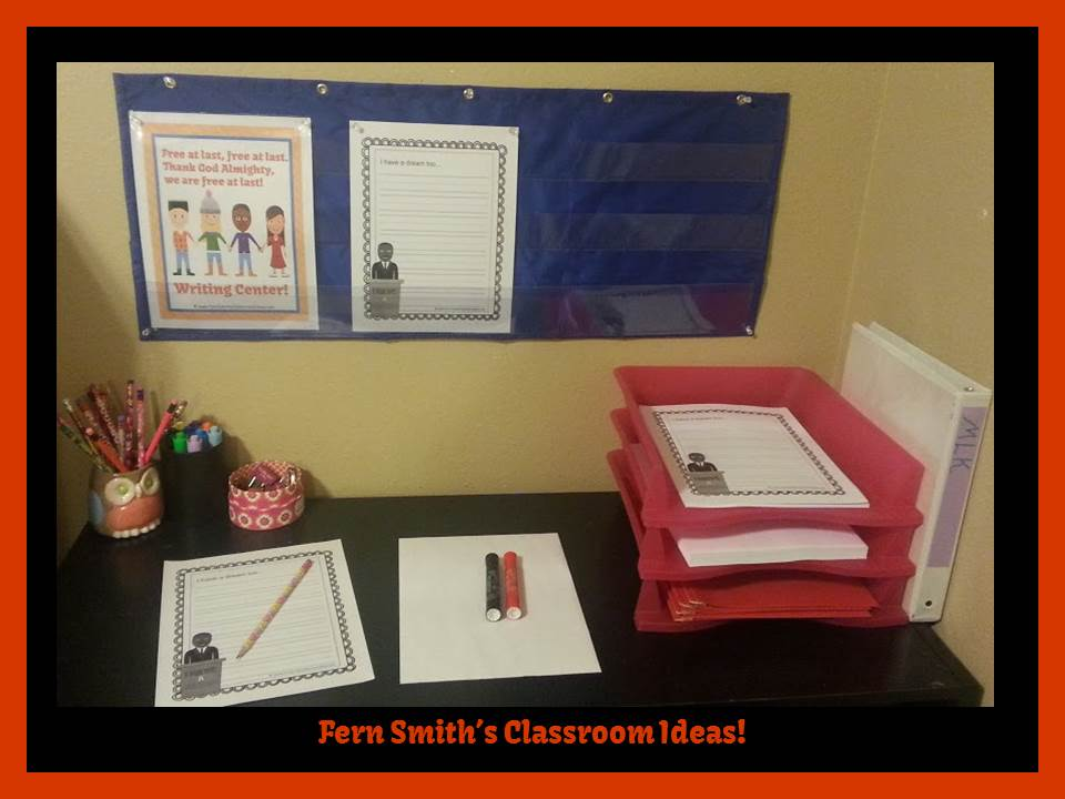 http://www.teacherspayteachers.com/Product/MartiFern Smith's Classroom Ideas Martin Luther King Jr. Literacy Centersn-Luther-King-Jr-Writing-and-Social-Studies-Center-1027300