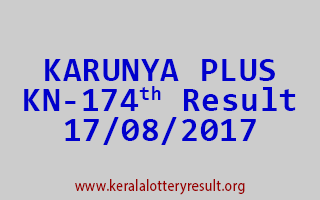 KARUNYA PLUS Lottery KN 174 Results 17-8-2017