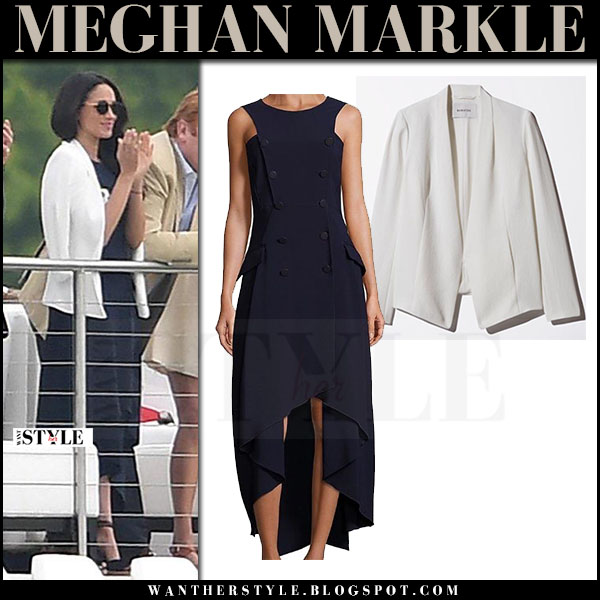Meghan Markle in white blazer babaton keith and dark navy dress antonio berardi at Audi Polo Challenge what she wore may 2016