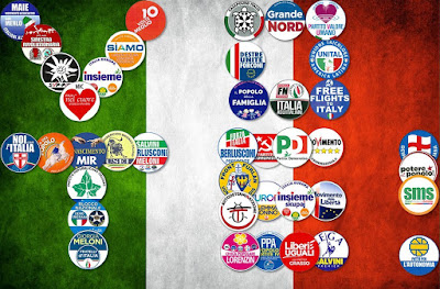 Fun with the 2018 Italian political party symbols (insignia). Represented here are about 40 symbols.
