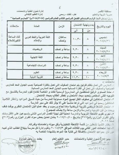 جدول امتحانات الصف الرابع الابتدائي 2018 اخر العام محافظة الاقصر