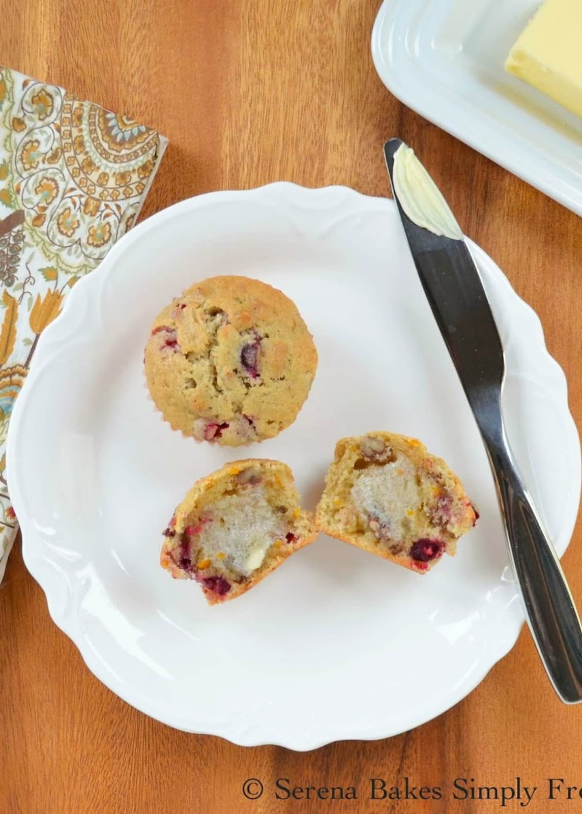 Orange Cranberry Muffins from scratch are tender and moist with plenty of juicy cranberries and orange flavor. These are a holiday favorite recipe for Christmas breakfast or brunch from Serena Bakes Simply From Scratch.