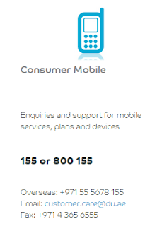 du consumer mobile customer care service contact phone number