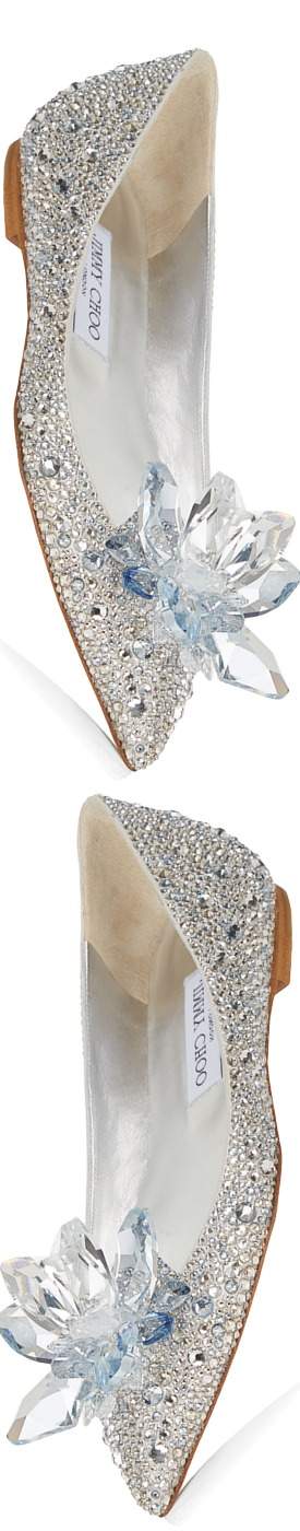 Jimmy Choo Attila Crystal Covered Pointy Toe Flats