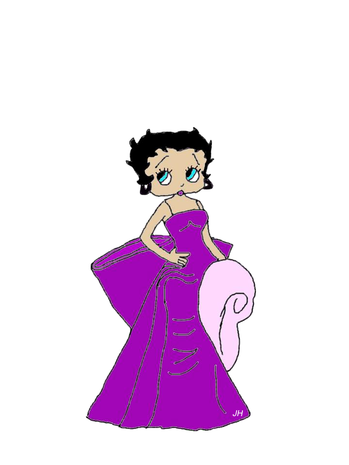 Hand Drawn Betty Boop Blue Gown Free To Use