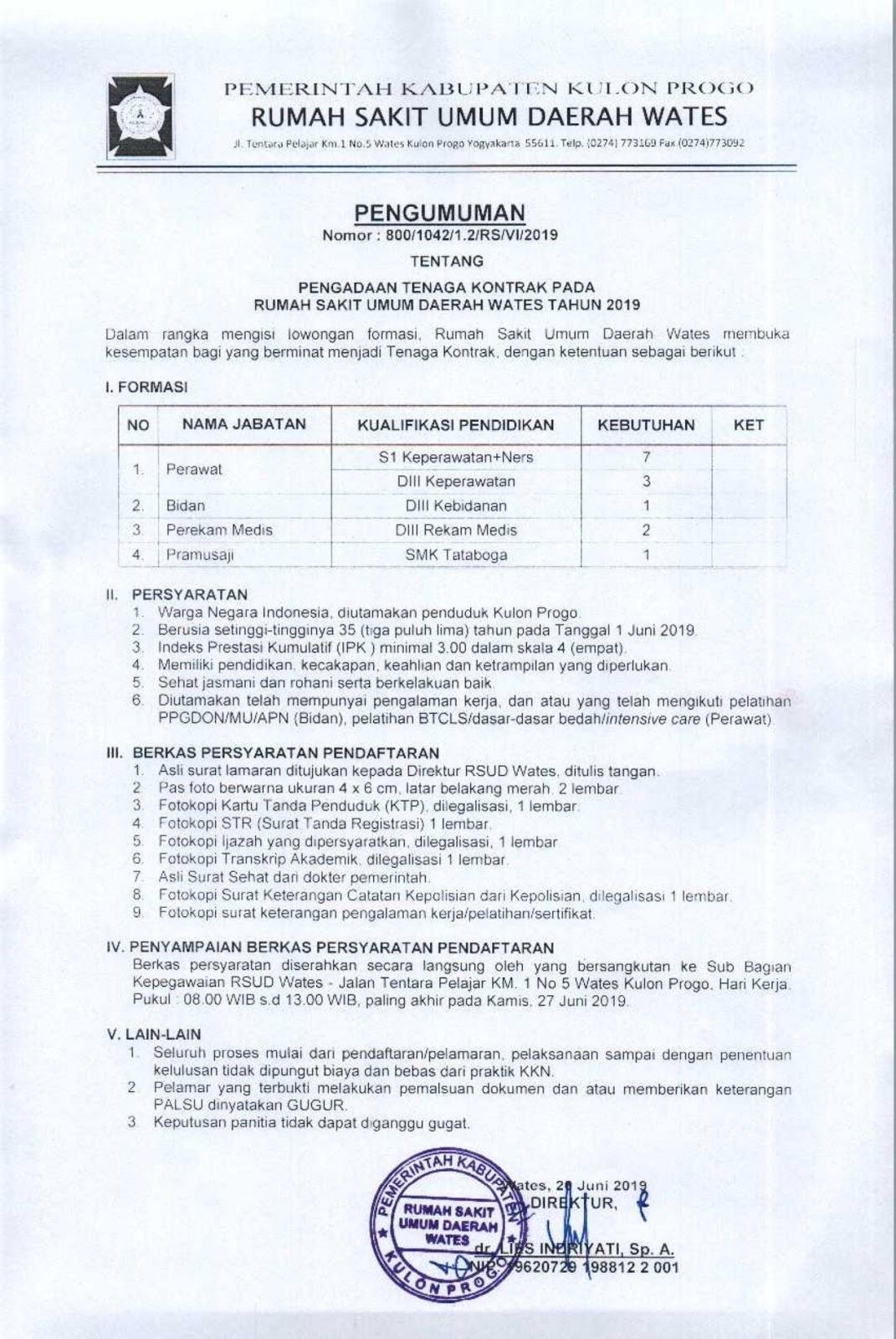 Pengadaan Tenaga Kontrak Pada Rsud Wates Tahun 2019 Rekrutmen Dan Lowongan Kerja Bulan Februari 2021