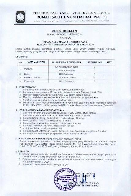 Pengadaan Tenaga Kontrak Pada RSUD Wates Tahun 2019
