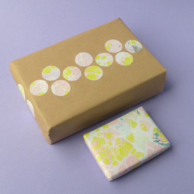 Gift wrapping idea using scraps of paper