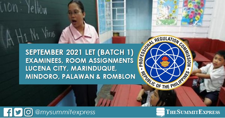 Room Assignments: September 2021 LET in Lucena, MIMAROPA