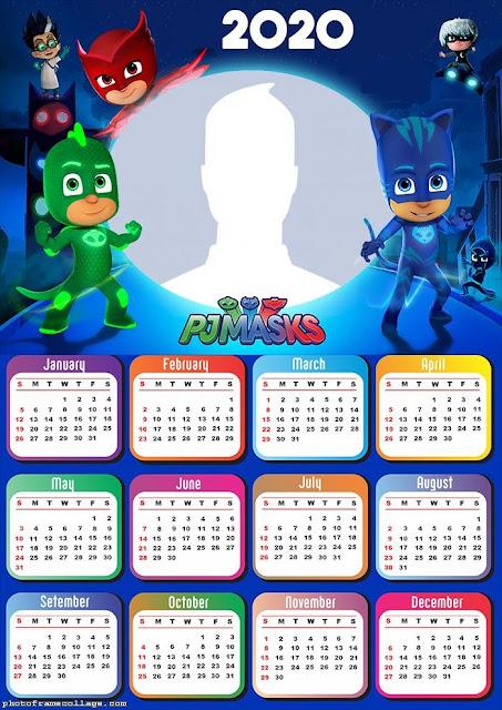 PJ Masks: Free Printable 2020 Calendar