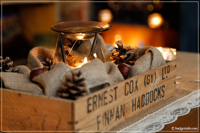 Rustic Autumn Crate Centerpiece Decoration with Pinecones & Hessian