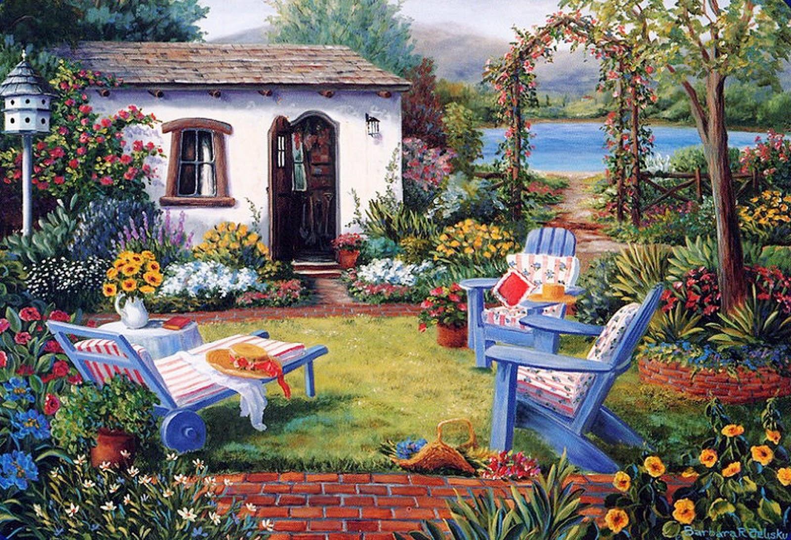 Cuadros modernos pinturas y dibujos cuadros de casas con for Casas jardin del mar