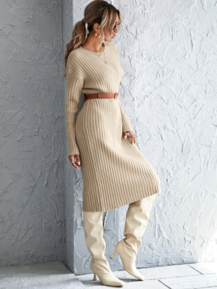 Apricot ribbed sweater dress