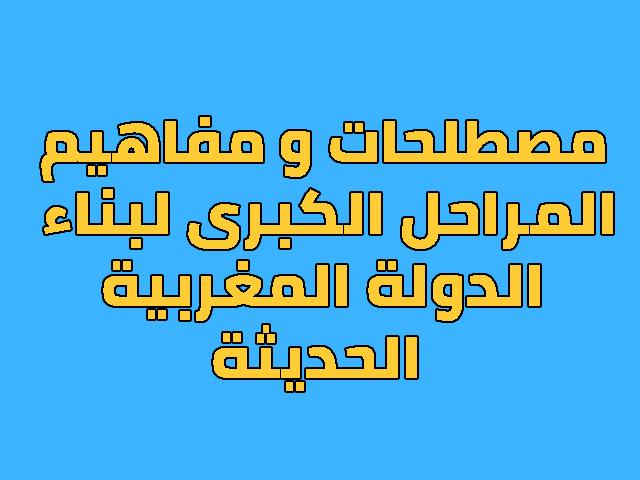 مصطلحات و مفاهيم درس المراحل الكبرى لبناء الدولة المغربية الحديثة