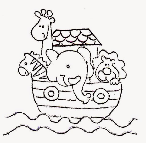 desenho de arca de noe com bichinhos para pintar em fraldas