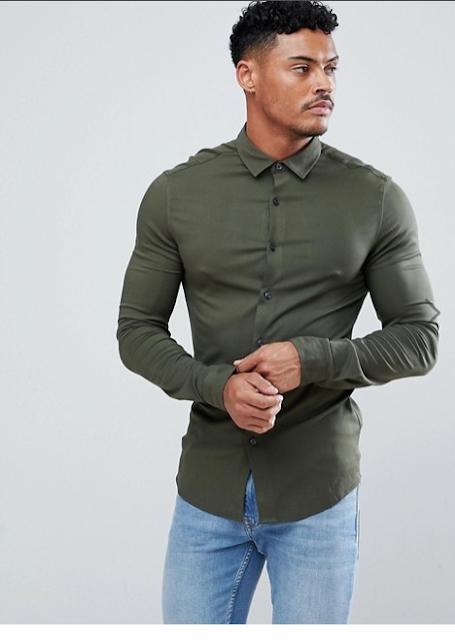 Dar kesim yeşil gömlek kombini