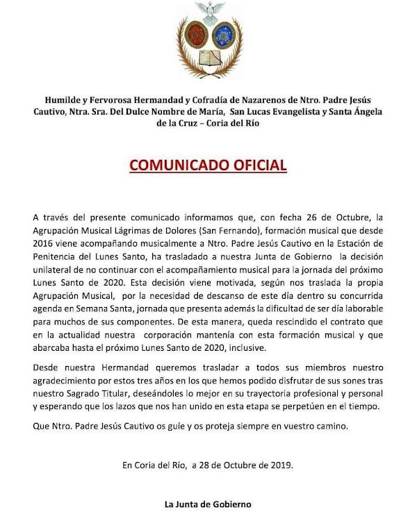 """""""Lágrimas de Dolores"""" de San Fernando """"No"""" continuará en 2020 con la Hermandad del Cautivo de Coria del Río"""