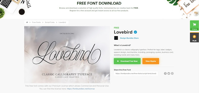 Screenshot of the website with Lovebird font on screen