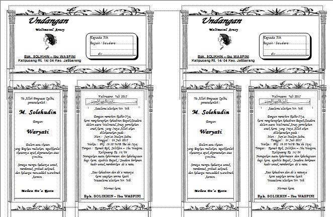 Contoh Surat Undangan Syukuran Pernikahan atau Resepsi Resmi