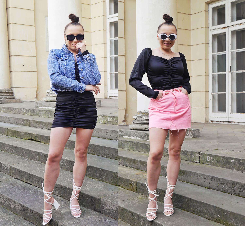 blog modowy blogerka modowa karyn puławy sukienka czarna femme luxe jeansowa kurtka okulary gate kolczyki złote spódnica różowa białe sandałki bonprix stylizacja look