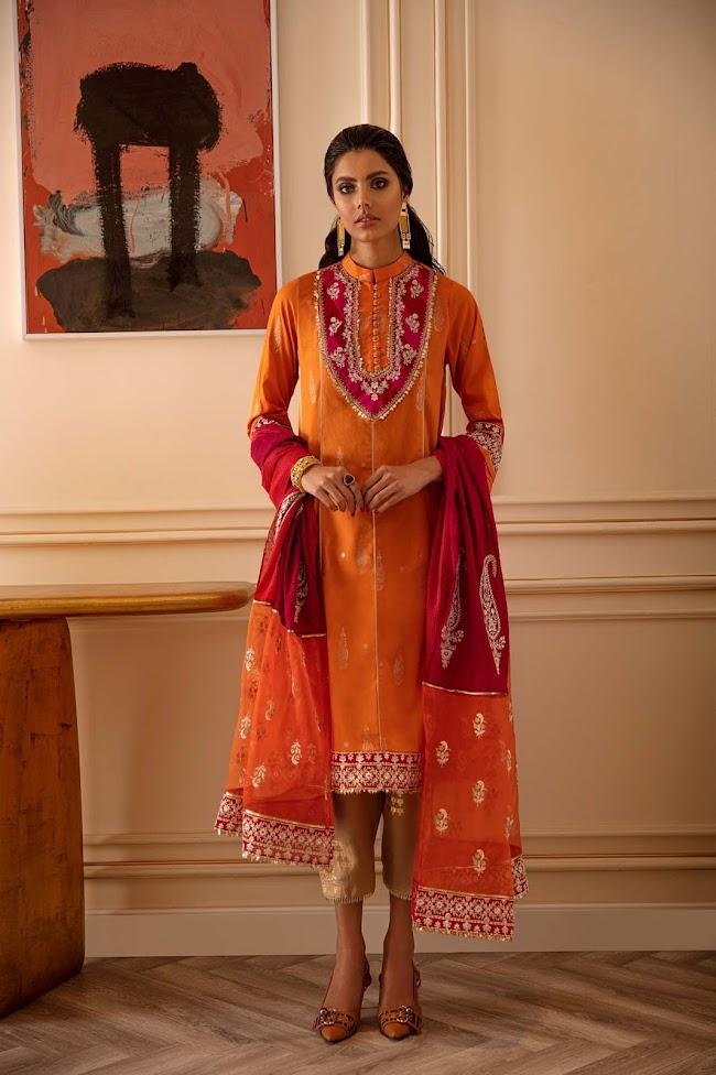 Ethnic Orange Jacquard Suit