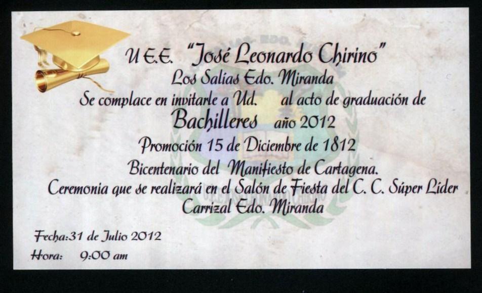 Liceo Estadal José Leonardo Chirino Tarjeta De Invitacion V