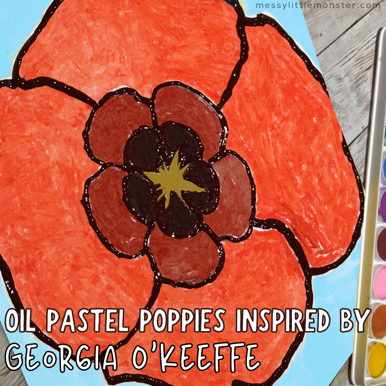 Oil Pastel Poppies inspired by Georgia O Keeffe